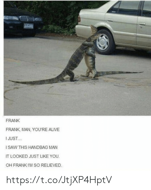 Alive, Memes, and 🤖: FRANK  FRANK, MAN, YOU'RE ALIVE  I JUST  ISAW THIS HANDBAG MAN  IT LOOKED JUST LIKE YOU  OH FRANK I'M SO RELIEVED https://t.co/JtjXP4HptV
