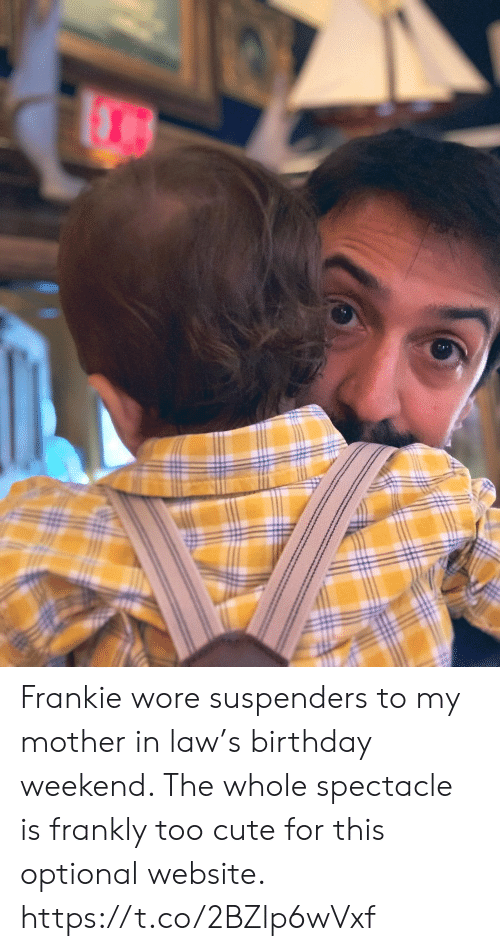 Birthday, Cute, and Memes: Frankie wore suspenders to my mother in law's birthday weekend. The whole spectacle is frankly too cute for this optional website. https://t.co/2BZlp6wVxf