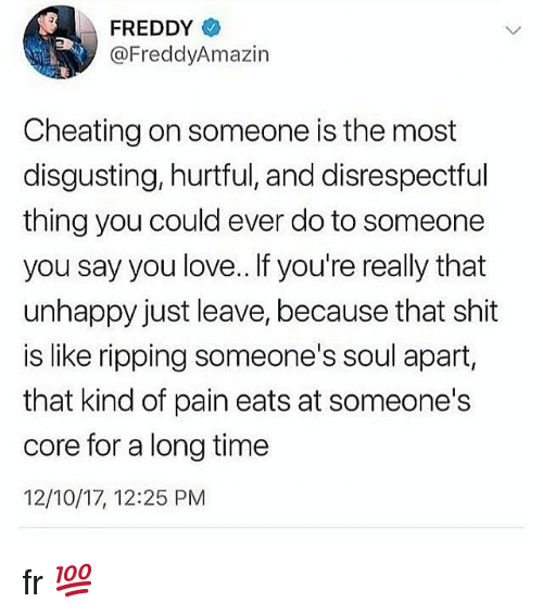 Cheating, Love, and Memes: FREDDY  @FreddyAmazin  Cheating on someone is the most  disgusting, hurtful, and disrespectful  thing you could ever do to someone  you say you love.. If you're really that  unhappy just leave, because that shit  is like ripping someone's soul apart,  that kind of pain eats at someone's  core for a long time  12/10/17, 12:25 PM fr 💯