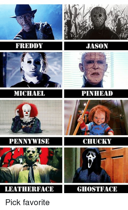 FREDDY JASON MICHAEL PINHEAD PENNYWISE CHUCKY LEATHERFACE ... | 500 x 821 png 198kB