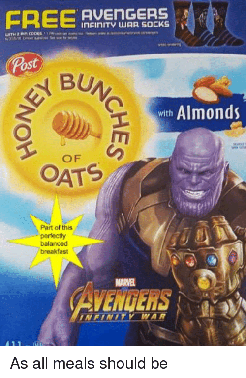 FREE AVEnGERS inFinITY WAR SOCKS Post Almonds With OATS Part