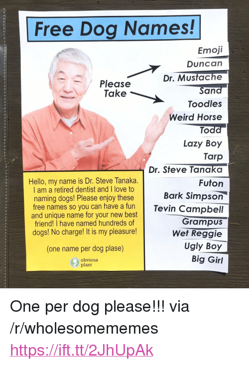"""Best Friend, Dogs, and Emoji: Free Dog Names!  Emoji  Duncan  Dr. Mustache  Sand  Toodles  Weird Horse  Todd  Lazy Boy  Tarp  Dr. Steve Tanaka  Futon  Please  Take  Hello, my name is Dr. Steve Tanaka.  I am a retired dentist and I love to  naming dogs! Please enjoy these  Bark Simpson  free names so you can have a funTevin Campbell  Grampus  Wet Reggie  Ugly Boy  Big Girl  and unique name for your new best  friend! I have named hundreds of  dogs! No charge! It is my pleasure!  (one name per dog plase)  obvious  plant <p>One per dog please!!! via /r/wholesomememes <a href=""""https://ift.tt/2JhUpAk"""">https://ift.tt/2JhUpAk</a></p>"""