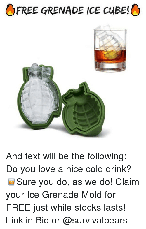Ice Cube, Love, And Memes: FREE GRENADE ICE CuBE! And Text Will