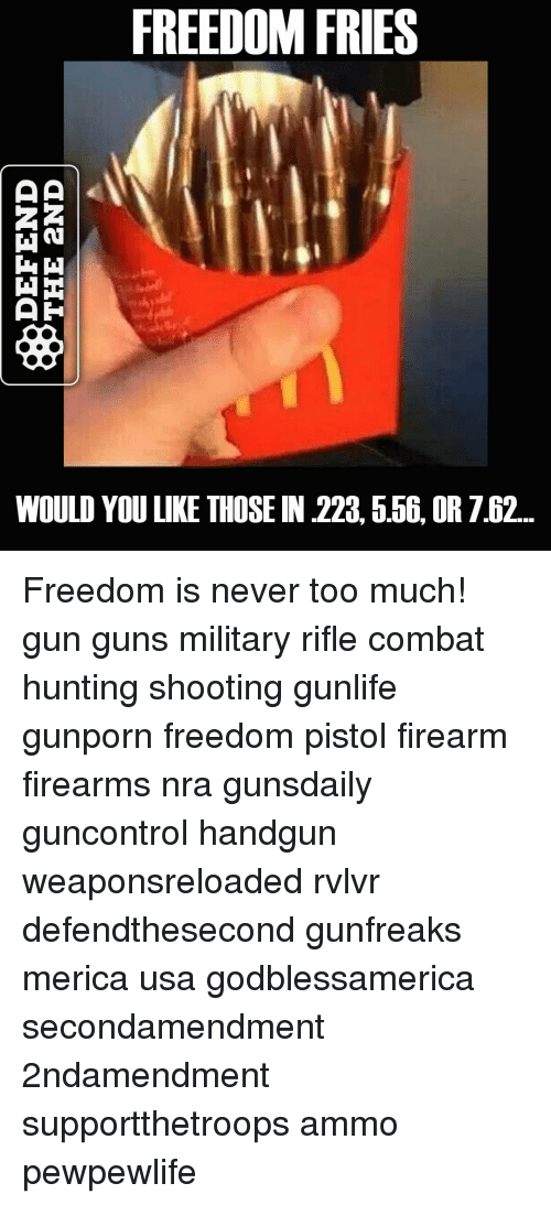 FREEDOM FRIES WOULD YOU LIKE THOSE IN 556 OR 762? What ...