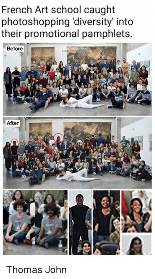 french art school caught photoshopping diversity into their