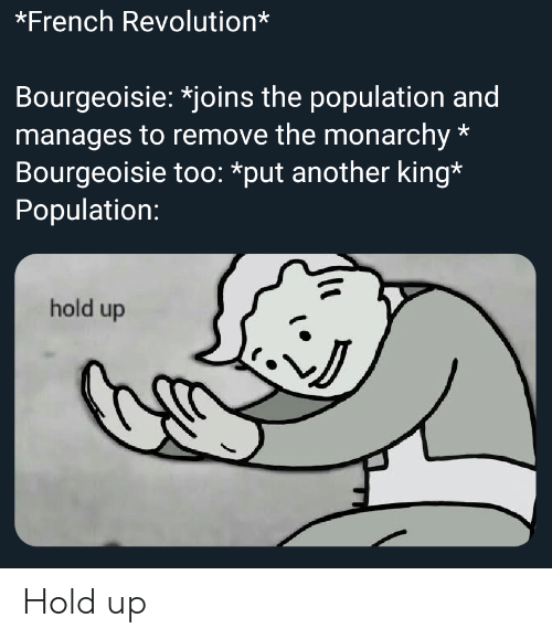 History, Revolution, and French: *French Revolution*  Bourgeoisie: *joins the population and  manages to remove the monarchy  Bourgeoisie too: *put another king*  Population:  hold up Hold up