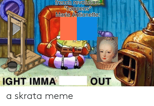 Meme, Revolution, and French: french revolution  happens  Marie Antionette  OUT  IGHT IMMA a skrata meme