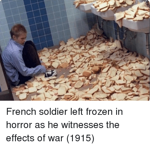 Frozen, French, and Horror: French soldier left frozen in horror as he witnesses the effects of war (1915)