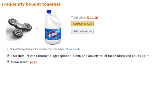 """Children, Chrome, and Adhd: Frequently bought together  Total price: $11.10  Add both to Cart  Add both to List  LOR  i One of these items ships sooner than the other. Show details  This item: """"Extra Chrome"""" Fidget spinner-ADHD and anxiety relief for children and adults $4.20  Clorox Bleach $6.90"""