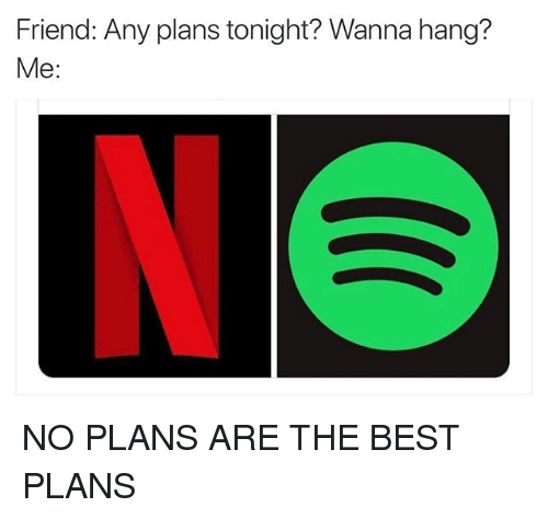 Funny, Best, and Friend: Friend: Any plans tonight? Wanna hang?  Me: NO PLANS ARE THE BEST PLANS