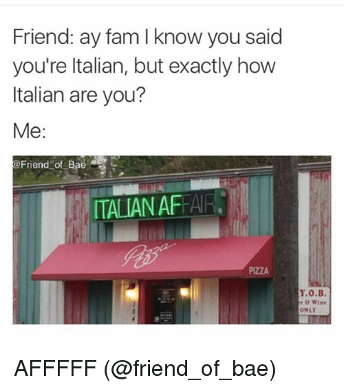 Bae, Fam, and Friends: Friend: ay fam l know you said  you're Italian, but exactly how  Italian are you?  Me  @Friend of Bae  ITALIANAFEAR.  PIZZA  Y.0.B.  r Wine AFFFFF (@friend_of_bae)