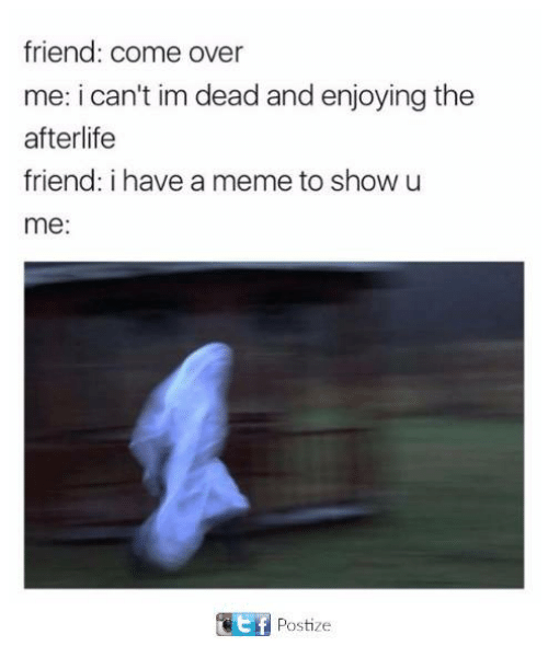 Come Over, Dank, and Meme: friend: come over  me: i can't im dead and enjoying the  afterlife  friend: i have a meme to show u  me:  ef  Postize