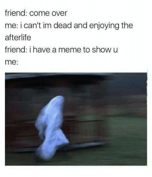 Come Over, Meme, and Memes: friend: come over  me: i can't im dead and enjoying the  afterlife  friend: i have a meme to show u  me: