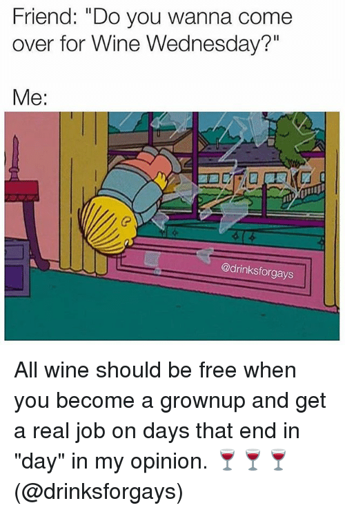 """Come Over, Friends, and Wine: Friend: """"Do you wanna come  over for Wine Wednesday?""""  Me:  @drinksforgays All wine should be free when you become a grownup and get a real job on days that end in """"day"""" in my opinion. 🍷🍷🍷 (@drinksforgays)"""