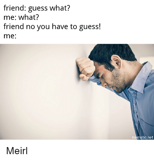 Guess, MeIRL, and Net: friend: guess what?  me: what?  friend no you have to guess!  me:  mematic.net Meirl