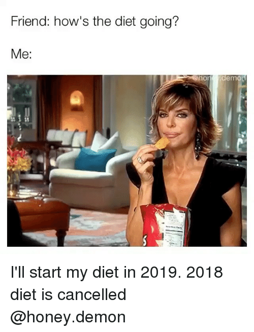 Girl Memes, Diet, and Honey: Friend: how's the diet going?  Me: I'll start my diet in 2019. 2018 diet is cancelled @honey.demon