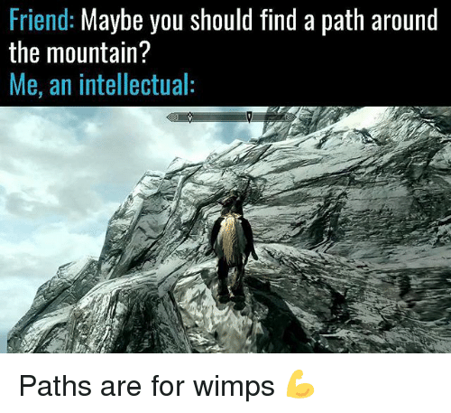 Memes, 🤖, and Friend: Friend: Maybe you should find a path around  the mountain?  Me, an intellectual: Paths are for wimps 💪
