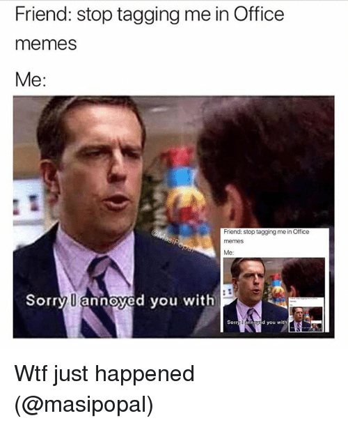 Funny, Memes, and Sorry: Friend: stop tagging me in Office  memes  Me:  Friend: stop tagging me in Office  memes  Me  Sorry U annoyed you with  Sorry Uannaved you with Wtf just happened (@masipopal)