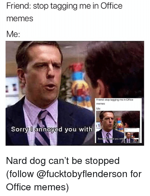 Funny, Memes, and Sorry: Friend: stop tagging me in Office  memes  Me:  Friend: stop tagging me in Office  memeS  Me:  Sorry U annoyed you with  Sorry U annoyed you with Nard dog can't be stopped (follow @fucktobyflenderson for Office memes)