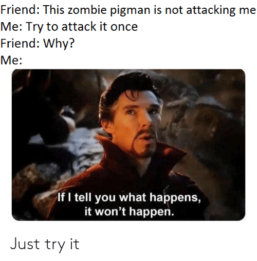 Reddit, Zombie, and Once: Friend: This zombie pigman is not attacking me  Me: Try to attack it once  Friend: Why?  Me:  If I tell you what happens,  it won't happen. Just try it