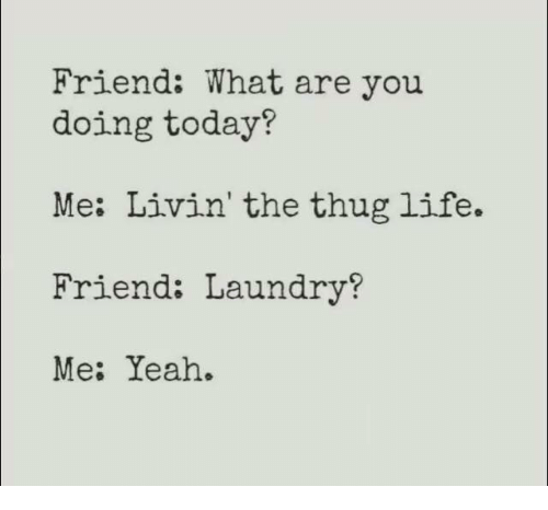 Dank, Laundry, and Life: Friend: What are you  doing today?  Me: Livin' the thug life.  Friend: Laundry?  Me: Yeah.