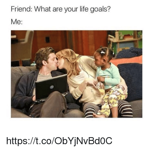 Goals, Life, and Memes: Friend: What are your life goals?  Me: https://t.co/ObYjNvBd0C