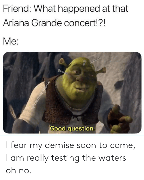 Ariana Grande, Soon..., and Good: Friend: What happened at that  Ariana Grande concert!?!  Me:  Good question I fear my demise soon to come, I am really testing the waters oh no.
