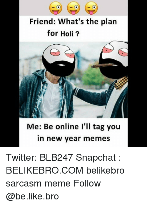 Be Like, Meme, and Memes: Friend: What's the plan  for Holi?  Me: Be online l'll tag you  in new year memes Twitter: BLB247 Snapchat : BELIKEBRO.COM belikebro sarcasm meme Follow @be.like.bro