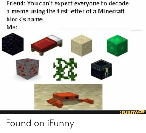 Meme, Minecraft, and Friend: Friend: You can't expect everyone to decode  a meme using the first letter of a Minecraft  block's name  Me:  ifunny.co Found on iFunny