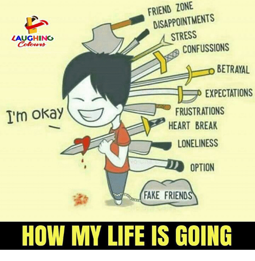 Fake, Life, and Break: FRIEND ZONE  DISAPPOINTMENTS  LAUGHING  Colours  STRESS  CONFUSSIONS  o BETRAYAL  EXPECTATIONS  I'm okay(  FRUSTRATIONS  HEART BREAK  LONELINESS  OPTION  FAKE FRIEND  HOW MY LIFE IS GOING