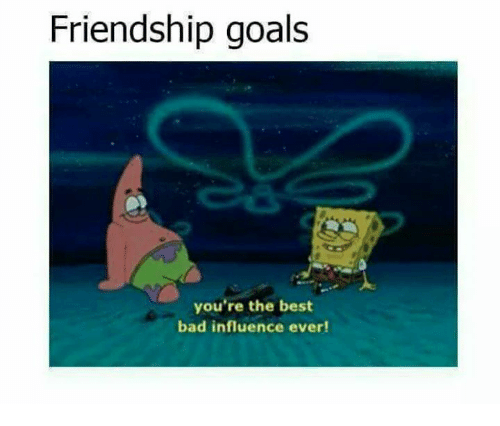 Friendship Goals You're the Best Bad Influence Ever!   Bad Meme on