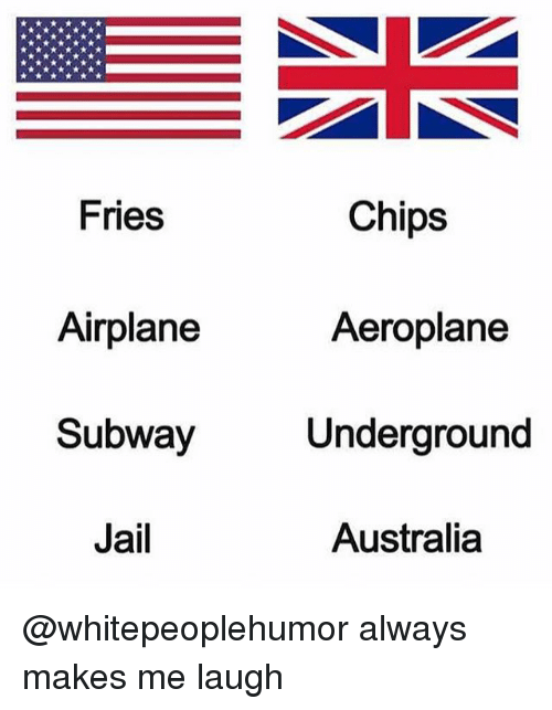 Jail, Memes, and Subway: Fries  Chips  Airplane  Subway  Jail  Aeroplane  Underground  Australia @whitepeoplehumor always makes me laugh