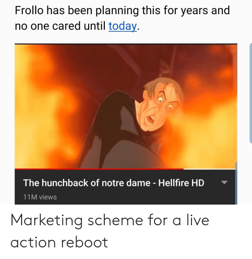 Live, Notre Dame, and Today: Frollo has been planning this for years and  no one cared until today  The hunchback of notre dame - Hellfire HD  11M views Marketing scheme for a live action reboot