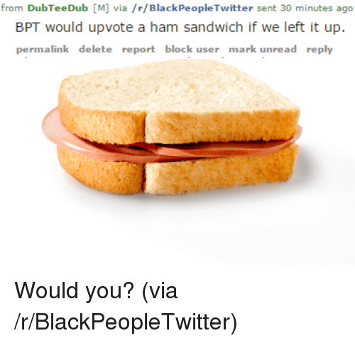 Blackpeopletwitter, Ham, and Sandwich: from DubTeeDub [M] via /r/BlackPeopleTwitter sent 30 minutes ago  BPT would upvote a ham sandwich if we left it up.  permalink delete report block user mark unread reply <p>Would you? (via /r/BlackPeopleTwitter)</p>