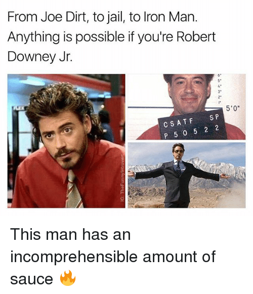 """Jail, Robert Downey Jr., and Robert Downey Jr: From Joe Dirt, to jail, to lron Man.  Anything is possible if you're Robert  Downey Jr.  6  5*  3*  2""""  5'0  CSATFS P  P 5 0 5 2 2 This man has an incomprehensible amount of sauce 🔥"""