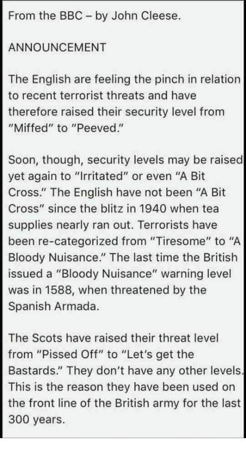 John cleese threat levels