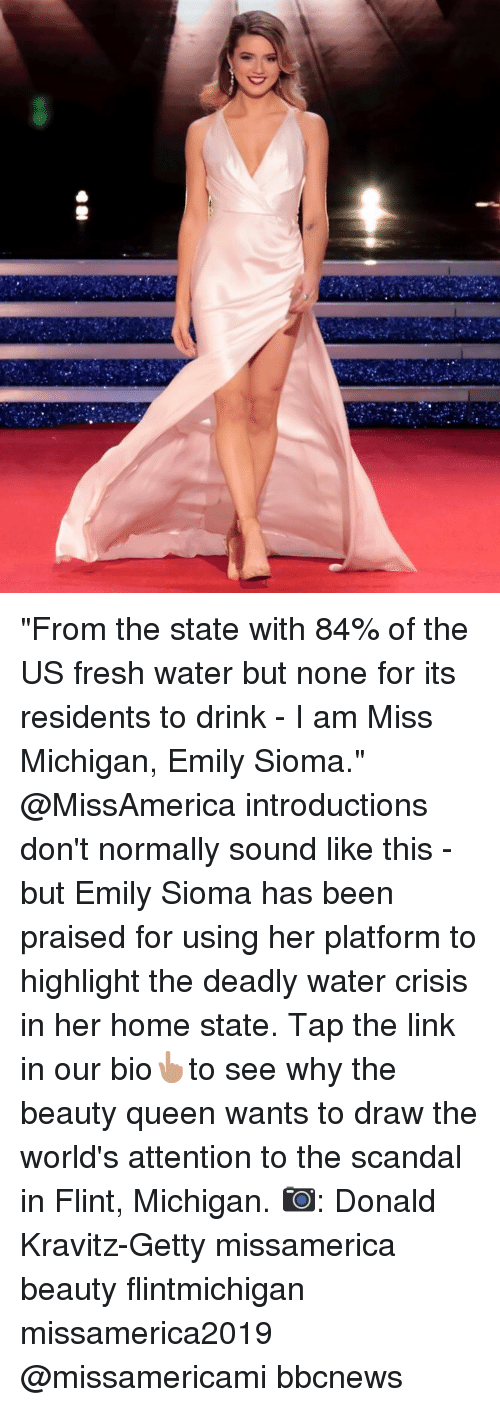 """Fresh, Memes, and Queen: """"From the state with 84% of the US fresh water but none for its residents to drink - I am Miss Michigan, Emily Sioma."""" @MissAmerica introductions don't normally sound like this - but Emily Sioma has been praised for using her platform to highlight the deadly water crisis in her home state. Tap the link in our bio👆🏽to see why the beauty queen wants to draw the world's attention to the scandal in Flint, Michigan. 📷: Donald Kravitz-Getty missamerica beauty flintmichigan missamerica2019 @missamericami bbcnews"""