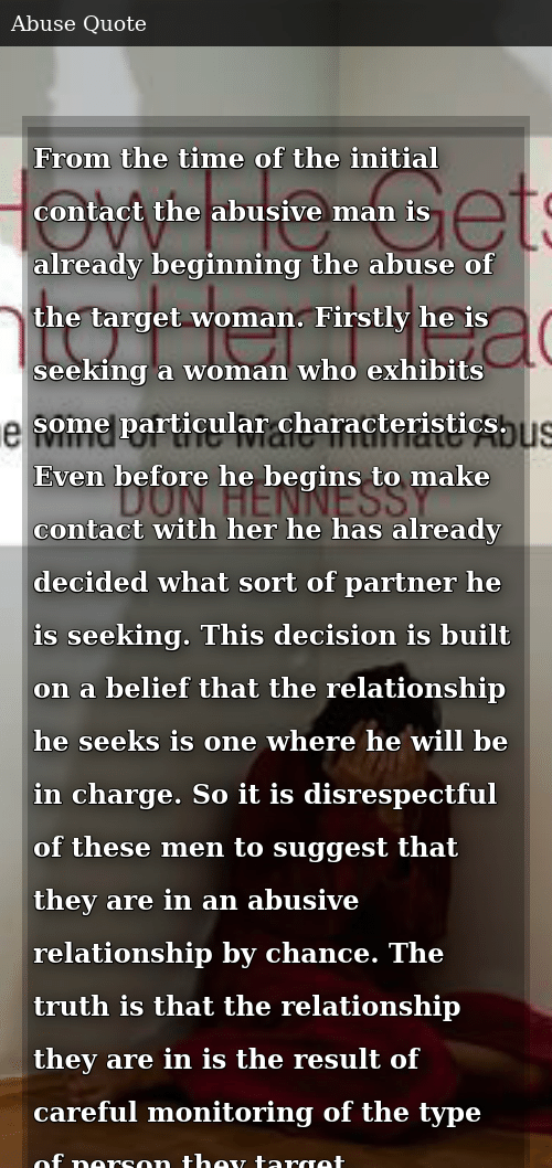 From the Time of the Initial Contact the Abusive Man Is ...