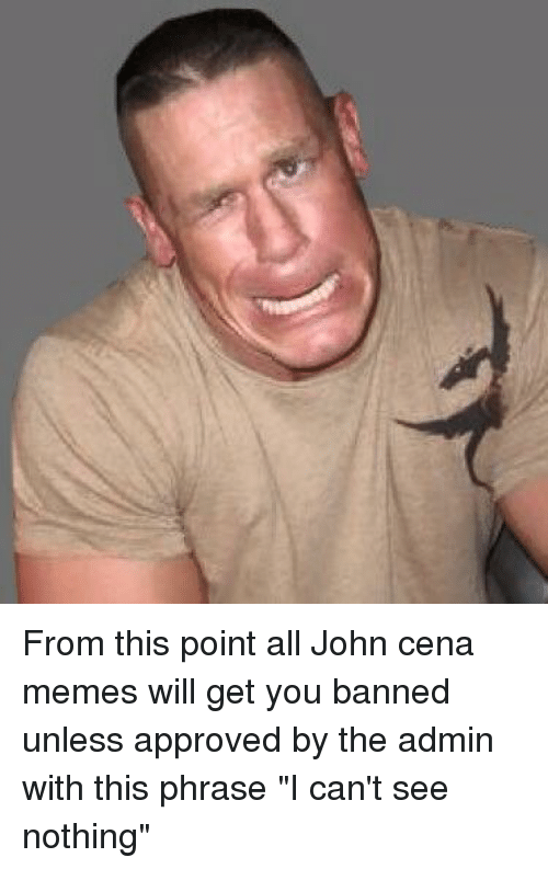 from this point all john cena memes will get you 1156890 from this point all john cena memes will get you banned unless