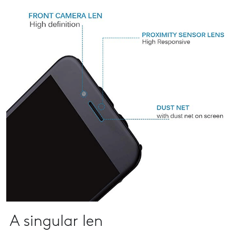 Camera, Definition, and Engrish: FRONT CAMERA LEN  High definition  PROXIMITY SENSOR LENS  High Responsive  DUST NET  with dust net on screen A singular len