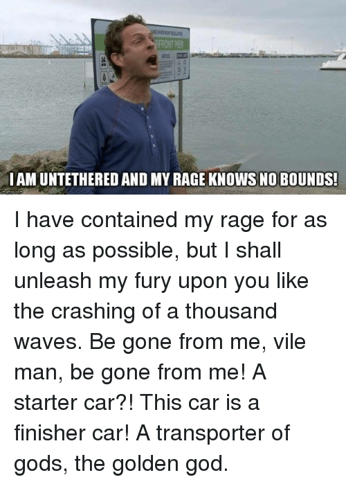 God, Memes, and Waves: FRONT PIER  IAM UNTETHERED AND MY RAGE KNOWS NO BOUNDS! I have contained my rage for as long as possible, but I shall unleash my fury upon you like the crashing of a thousand waves. Be gone from me, vile man, be gone from me! A starter car?! This car is a finisher car! A transporter of gods, the golden god.
