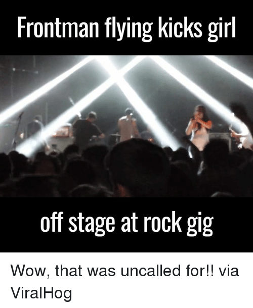 Dank, 🤖, and Rock: Frontman flying kicks girl  off stage at rock gig Wow, that was uncalled for!!   via ViralHog
