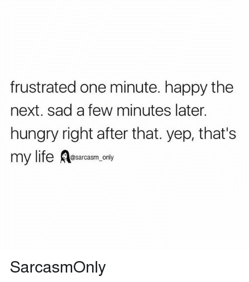 Funny, Hungry, and Memes: frustrated one minute. happy the  next. sad a few minutes later.  hungry right after that. yep, that's  @sarcasm_only SarcasmOnly