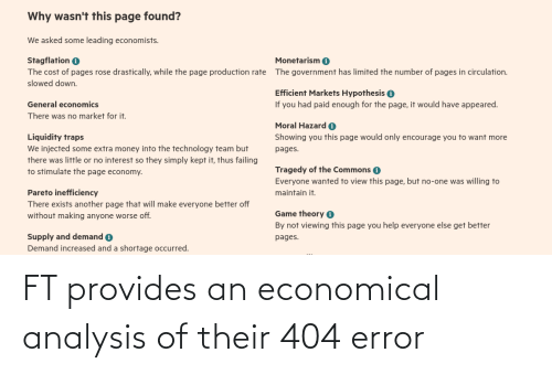 Programmer Humor, 404 Error, and Error: FT provides an economical analysis of their 404 error