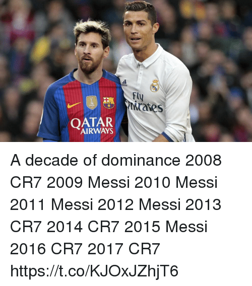 Fifa, Soccer, and Messi: FU  rates  FIFA  QATAR  AIRWAYS A decade of dominance   2008 CR7 2009 Messi 2010 Messi 2011 Messi 2012 Messi 2013 CR7 2014 CR7 2015 Messi 2016 CR7 2017 CR7 https://t.co/KJOxJZhjT6