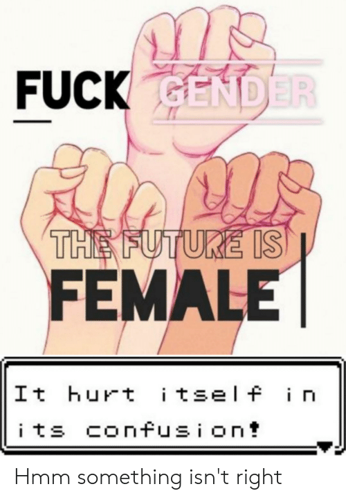 Future, Reddit, and Fuck: FUCK GENDER  THE FUTURE IS  FEMALE  It hurt itself i i  its confusion  C Hmm something isn't right