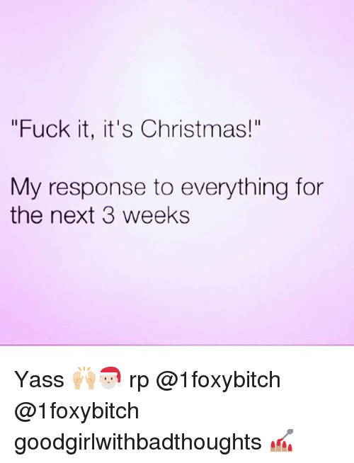 """Christmas, Memes, and Fuck: """"Fuck it, it's Christmas!""""  Il  My response to everything for  the next 3 weeks Yass 🙌🏼🎅🏻 rp @1foxybitch @1foxybitch goodgirlwithbadthoughts 💅🏽"""