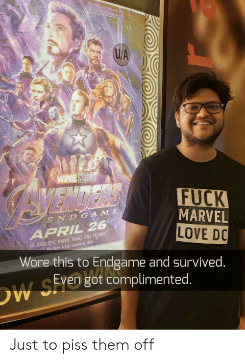 FUCK MARVEL LOVE DC Wore This to Endgame and Survived END