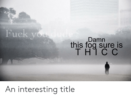 Dude, Fuck You, and Fuck: Fuck you dude  Damn  this fog sure is  TH1 C C  y An interesting title