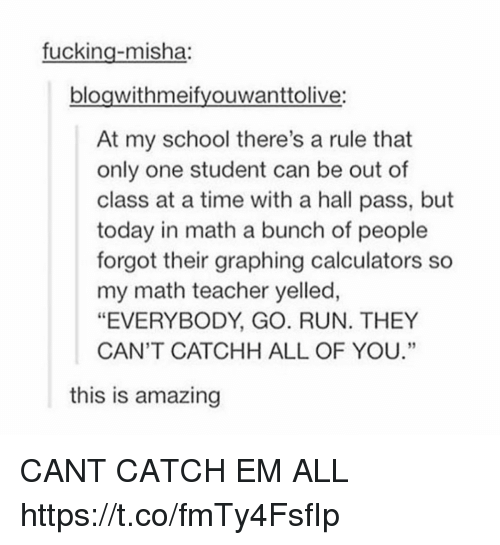 "Fucking, Memes, and Run: fucking-misha:  bloawithmeifvouwanttolive:  At my school there's a rule that  only one student can be out of  class at a time with a hall pass, but  today in math a bunch of people  forgot their graphing calculators so  my math teacher yelled,  ""EVERYBODY, GO. RUN. THEY  CAN'T CATCHH ALL OF YOU.""  60  this is amazing CANT CATCH EM ALL https://t.co/fmTy4FsfIp"